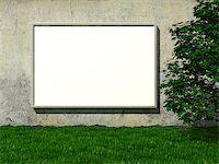enki (artist) - Blank advertising billboard on concrete wall with tree on lawn Stock Photo - Royalty-Freenull, Code: 400-06854653