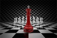 enki (artist) - King of leader at the head of chess on chessboard Stock Photo - Royalty-Freenull, Code: 400-06854664