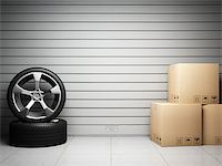 enki (artist) - Garage with car spare parts on background of roll up door Stock Photo - Royalty-Freenull, Code: 400-06854704