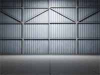 enki (artist) - Large warehouse door illuminate spotlight Stock Photo - Royalty-Freenull, Code: 400-06854728