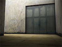 enki (artist) - Empty space of grungy concrete with door Stock Photo - Royalty-Freenull, Code: 400-06854729