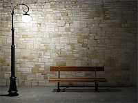 enki (artist) - Night view of the illuminated brick wall with old fashioned street light and bench Stock Photo - Royalty-Freenull, Code: 400-06854838