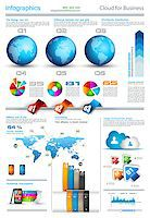 Infographic layout template with world maps. Ideal for global statistics and for every kind of data visualization. Delicate shadows and high costrast colours. Stock Photo - Royalty-Freenull, Code: 400-06855136