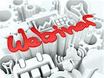 """Red Word """"Webinar"""" on White Background. Education Concept for Your Blog or Publication."""