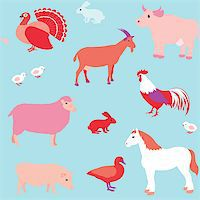Colorful seamless pattern with farm animals Stock Photo - Royalty-Freenull, Code: 400-06857561