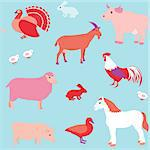 Colorful seamless pattern with farm animals Stock Photo - Royalty-Free, Artist: ekazansk, Code: 400-06857561