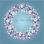 beautiful floral wreath on a blue background