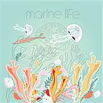 graphic marine life on a green background