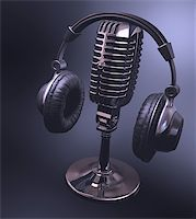 Headset on top of a classic microphone. Stock Photo - Royalty-Freenull, Code: 400-06891768