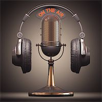 Headset on top of a classic microphone. Stock Photo - Royalty-Freenull, Code: 400-06891769