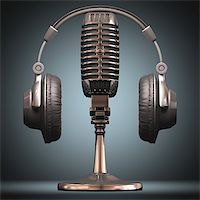 Headset on top of a classic microphone. Stock Photo - Royalty-Freenull, Code: 400-06891770