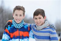 preteen touch - Two boys embracing outdoors, portrait Stock Photo - Premium Rights-Managednull, Code: 853-06893179