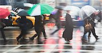 people with umbrellas in the rain - Line of people crossing city street in rain Stock Photo - Premium Royalty-Fr