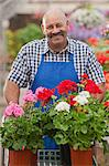 Mature gardener working in garden centre, smiling Stock Photo - Premium Royalty-Freenull, Code: 614-06896175