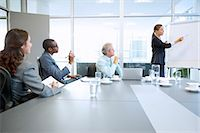 Businesswoman at flipchart leading meeting in conference room Stock Photo - Premium Royalty-Freenull, Code: 6113-06899155
