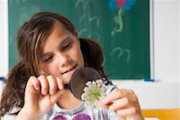 preteen girl pigtails - Girl in classroom examining flower with magnifying glass, Germany Stock Photo - Premium Royalty-Freenull, Code: 600-06899895