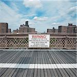 View of Brooklyn Bridge walkway, New York City, New York, USA