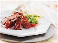 rib - Barbecue Ribs with Asparagus Salad Stock Photo - Premium Royalty-Freenull, Code: 659-06900933