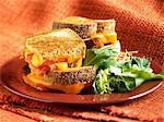 Grilled Cheese and Tomato Sandwich;Quartered and Stacked; Side Salad Stock Photo - Premium Royalty-Free, Artist: Blend Images, Code: 659-06901391