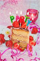 streamer - A piece of strawberry layer cake with candles, for a birthday Stock Photo - Premium Royalty-Freenull, Code: 659-06902086