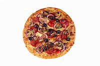 fungus - Whole Loaded Pizza on a White Background; From Above Stock Photo - Premium Royalty-Freenull, Code: 659-06902897