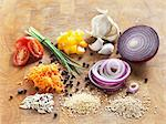 Assorted ingredients on a wooden board Stock Photo - Premium Royalty-Freenull, Code: 659-06903589