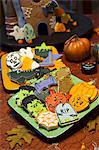 Festive Decorated Halloween Cookies with Halloween Decorations Stock Photo - Premium Royalty-Free, Artist: Westend61, Code: 659-06903733