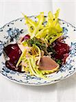Dandelion salad with smoked trout, trout caviar and beetroot Stock Photo - Premium Royalty-Freenull, Code: 659-06903761