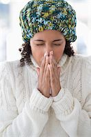 people coughing or sneezing - Close-up of a woman blowing her nose Stock Photo - Premium Royalty-Freenull, Code: 6108-06905637