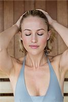 Close-up of a beautiful woman in a sauna Stock Photo - Premium Roya