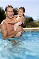 Father holding daughter in swimming pool Stock Photo - Premium Royalty-Freenull, Code: 6113-06909388