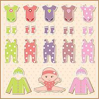 Scrapbook elements with baby clothes Stock Photo - Royalty-Freenull, Code: 400-06911327