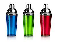 Three color cocktail shakers. Isolated on white background Stock Photo - Royalty-Freenull, Code: 400-06914551