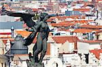 Aerial view of Madrid (Spain) / Famous Statue on the top and roofs