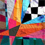unusual bright colorful geometric abstract pattern of different elements