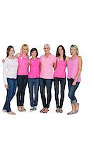 Smiling women posing with pink tops for breast cancer awareness on white background Stock Photo - Royalty-Freenull, Code: 400-06932871