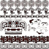 Vector of set of ancient American ornaments on white Stock Photo - Royalty-Freenull, Code: 400-06945761