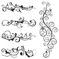 Collection of vintage floral silhouette designs with butterflies and swirls. This image is a vector illustration. Stock Photo - Royalty-Freenull, Code: 400-06945766