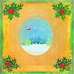 card with Santa, winter landscape and abstract holly berry decoration