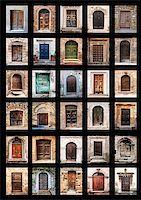 group of italian old doors Stock Photo - Royalty-Freenull, Code: 400-06949755