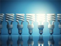 enki (artist) - One glowing light bulb among many of the disabled Stock Photo - Royalty-Freenull, Code: 400-06950182