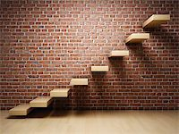 enki (artist) - Abstract stairs on brick wall in interior Stock Photo - Royalty-Freenull, Code: 400-06950213