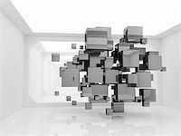enki (artist) - Abstract metallic cubes in futuristic room Stock Photo - Royalty-Freenull, Code: 400-06950235