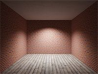 enki (artist) - Interior room with brick wall and wooden floor Stock Photo - Royalty-Freenull, Code: 400-06950251