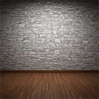 enki (artist) - Interior room with stone wall and wooden floor Stock Photo - Royalty-Freenull, Code: 400-06950255