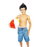 Happy boy with beach ball isolated over white background, kid having fun, healthy child playing game, cute teen enjoying sport and fitness, summer holidays and vacation Stock Photo - Royalty-Freenull, Code: 400-06950735