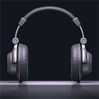 Headphone with reflection in desk. Your text in the center. Stock Photo - Royalty-Freenull, Code: 400-06951433