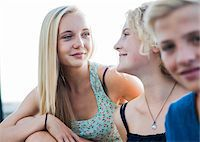 Close-up portrait of teenage girls and boy sitting outdoors, Germany Stock Photo - Premium Royalty-Freenull, Code: 600-06961058