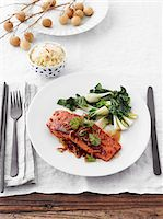 food - Grilled Salmon with Bok Choy and Bowl of Rice, Studio Shot Stock Photo - Premium Royalty-Freenull, Code: 600-06963792