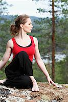 stretching (people exercising) - Young woman doing yoga Stock Photo - Premium Royalty-Freenull, Code: 6102-06965759